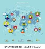 global communication. internet... | Shutterstock .eps vector #215544130