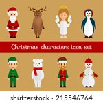 christmas characters icon set | Shutterstock .eps vector #215546764