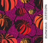 seamless pattern with pumpkins... | Shutterstock .eps vector #215551096