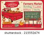 farmers market poster | Shutterstock .eps vector #215552674