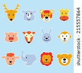 wild animal cartoon face vector ... | Shutterstock .eps vector #215557864