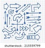 set of doodle pen sketch arrows.... | Shutterstock .eps vector #215559799