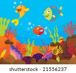 vector tropical fish on a reef | Shutterstock .eps vector #21556237