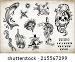 hand drawn vintage   retro ... | Shutterstock .eps vector #215567299