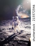 Astronaut Walking On Moon With...