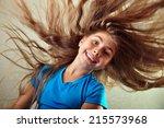 adorable little elementary girl ... | Shutterstock . vector #215573968