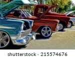 abstract vintage car show... | Shutterstock . vector #215574676