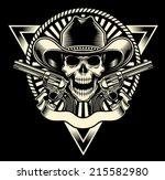 cowboy skull with revolver | Shutterstock .eps vector #215582980