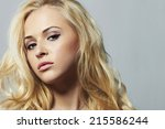 fashion portrait of young... | Shutterstock . vector #215586244