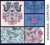 vector set of vintage cards... | Shutterstock .eps vector #215591704