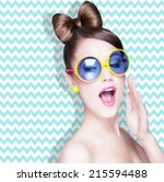 attractive surprised young... | Shutterstock . vector #215594488