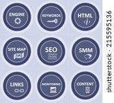 seo icons basic set blue design ... | Shutterstock .eps vector #215595136