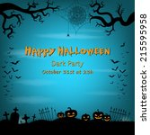happy halloween background with ... | Shutterstock .eps vector #215595958