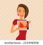 woman wearing red dress is...   Shutterstock .eps vector #215598358