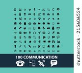 black communication icons ... | Shutterstock .eps vector #215606524