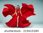 sexy young motion woman in long ... | Shutterstock . vector #215613184