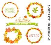 set of autumn frames on white...   Shutterstock .eps vector #215622649