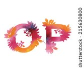 floral watercolor alphabet.... | Shutterstock .eps vector #215630800