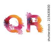 floral watercolor alphabet.... | Shutterstock .eps vector #215630830