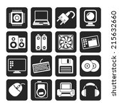 silhouette computer items and... | Shutterstock .eps vector #215632660