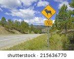 bighorn sheep crossing warning... | Shutterstock . vector #215636770