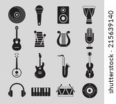 set of black and white musical... | Shutterstock .eps vector #215639140