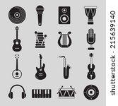 set of black and white musical... | Shutterstock .eps vector #215639140