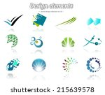 colorful design set of icons ... | Shutterstock .eps vector #215639578