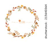 Watercolor Autumn Frame. Wreat...