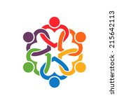 group of people interlaced... | Shutterstock .eps vector #215642113