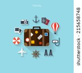 world travel concept background.... | Shutterstock .eps vector #215658748