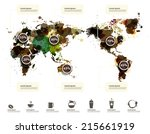 world map of coffee ink... | Shutterstock .eps vector #215661919