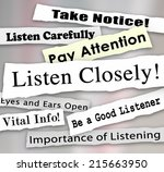 listen closely words on a... | Shutterstock . vector #215663950