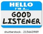 good listener words on a name... | Shutterstock . vector #215663989