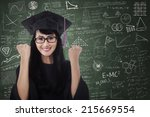 woman in graduation gown... | Shutterstock . vector #215669554