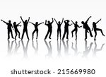 dancing people silhouettes | Shutterstock .eps vector #215669980