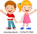 cute children waving hand | Shutterstock .eps vector #215671783