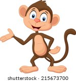 cartoon monkey presenting | Shutterstock .eps vector #215673700