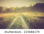 vintage photo of morning meadow | Shutterstock . vector #215686174