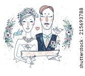 vector wedding illustration of... | Shutterstock .eps vector #215693788