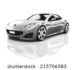 luxury silver 3d sports car | Shutterstock . vector #215706583