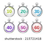 six colorful stopwatches with... | Shutterstock .eps vector #215721418