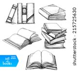 books set. opened and closed... | Shutterstock .eps vector #215725630