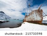 Abandoned Whaling Ship on Shore, Grytviken, South Georgia Island