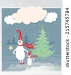 cheerful and bright snowman and ...   Shutterstock . vector #215745784