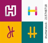 vector illustration letter h set | Shutterstock .eps vector #215748718