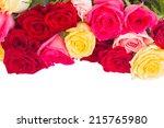 border of  multicolored  roses  ... | Shutterstock . vector #215765980