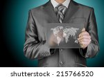 businessman pushing shopping... | Shutterstock . vector #215766520