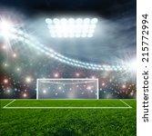 soccer ball on green stadium... | Shutterstock . vector #215772994