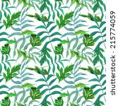 tropical leaves. seamless... | Shutterstock . vector #215774059